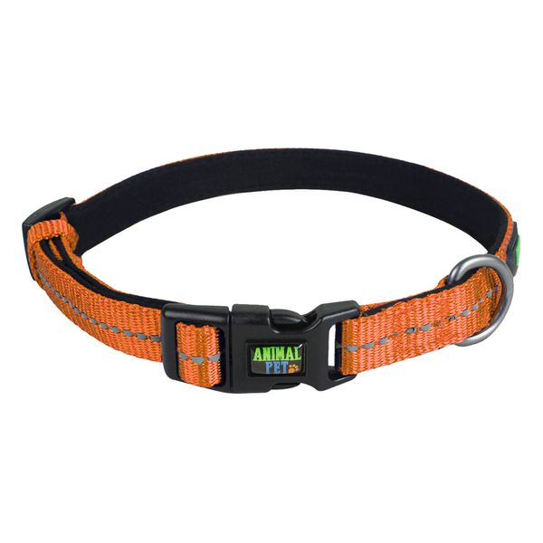 Collar-Reflectivo-Animal-Pet-Naranja-Costura-Blanca-L