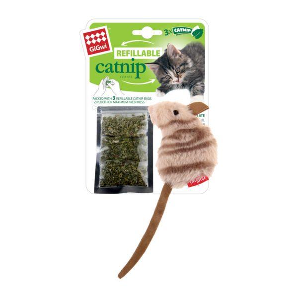 Juguete-Gigwi-Raton-Rellenable-con-Catnip---3-Bolsas-de-Catnip